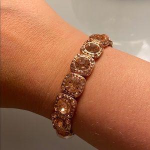 Rose Gold Square Stretch Rhinestone Bracelet